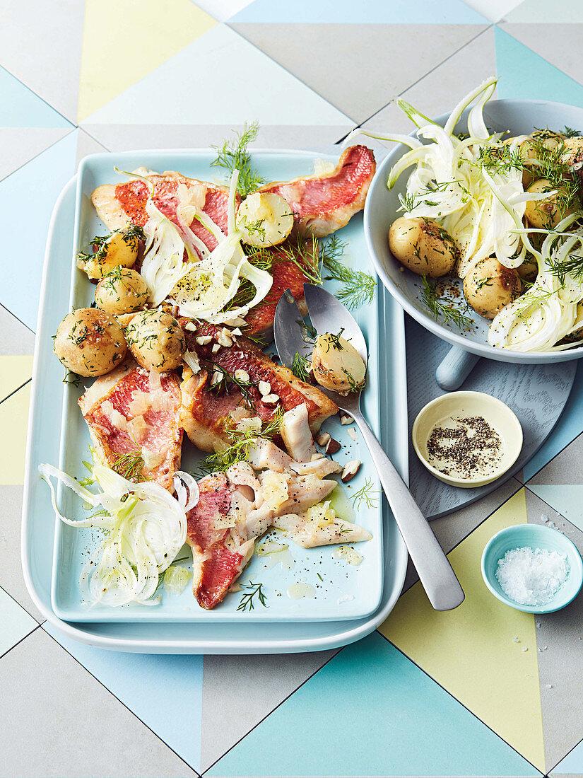 Red Snapper mit Kartoffelsalat und Fenchel
