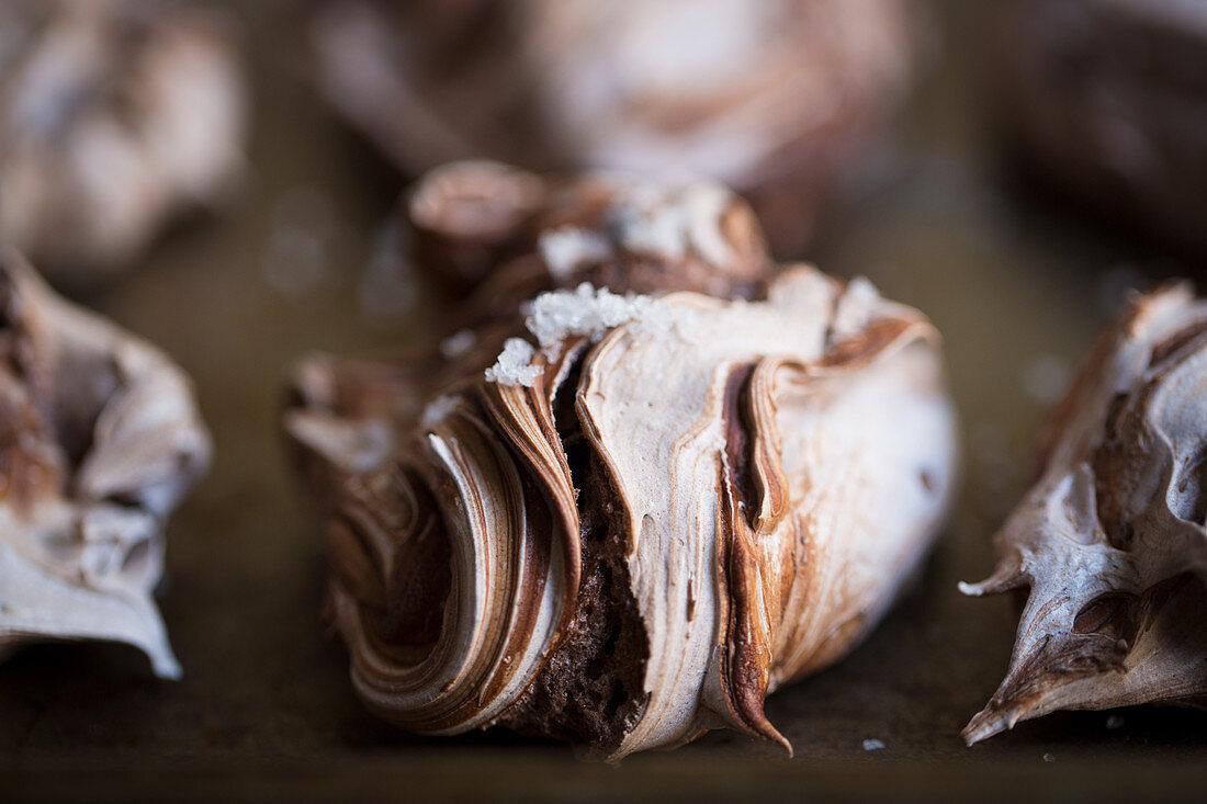Marbled chocolate cake with sea salt