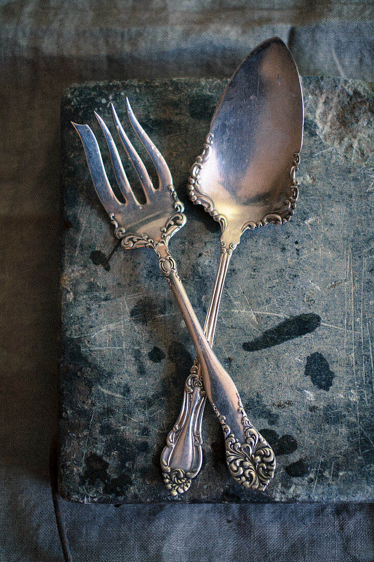 A silver dessert fork and a spoon