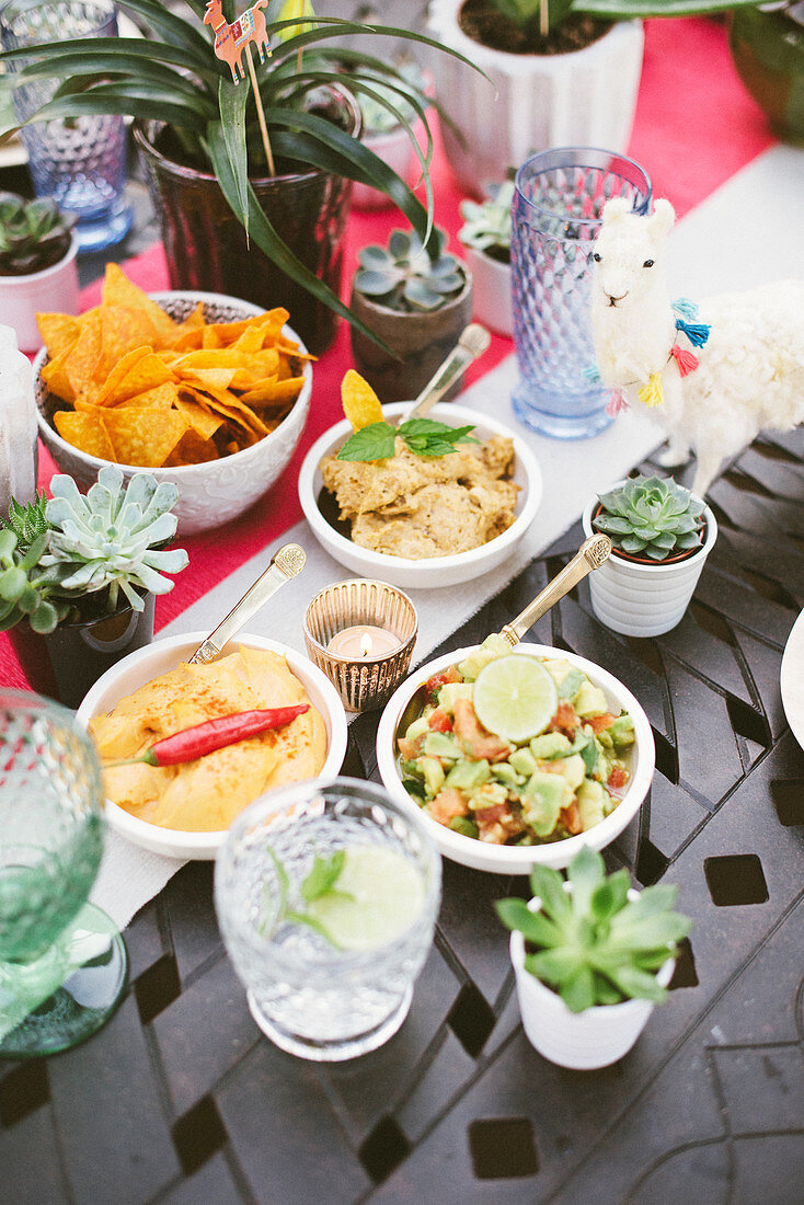 Table set with Mexican specialities