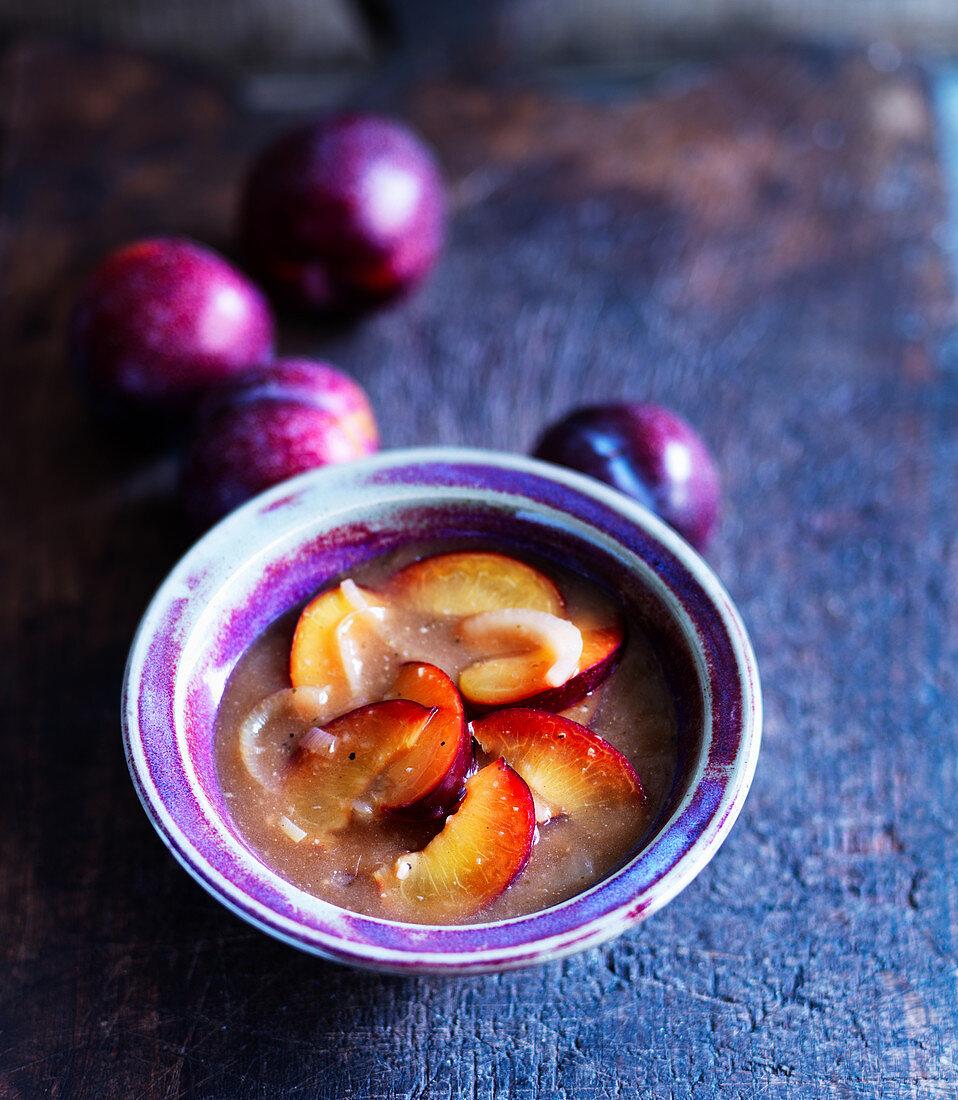 Savory plum sauce with onions