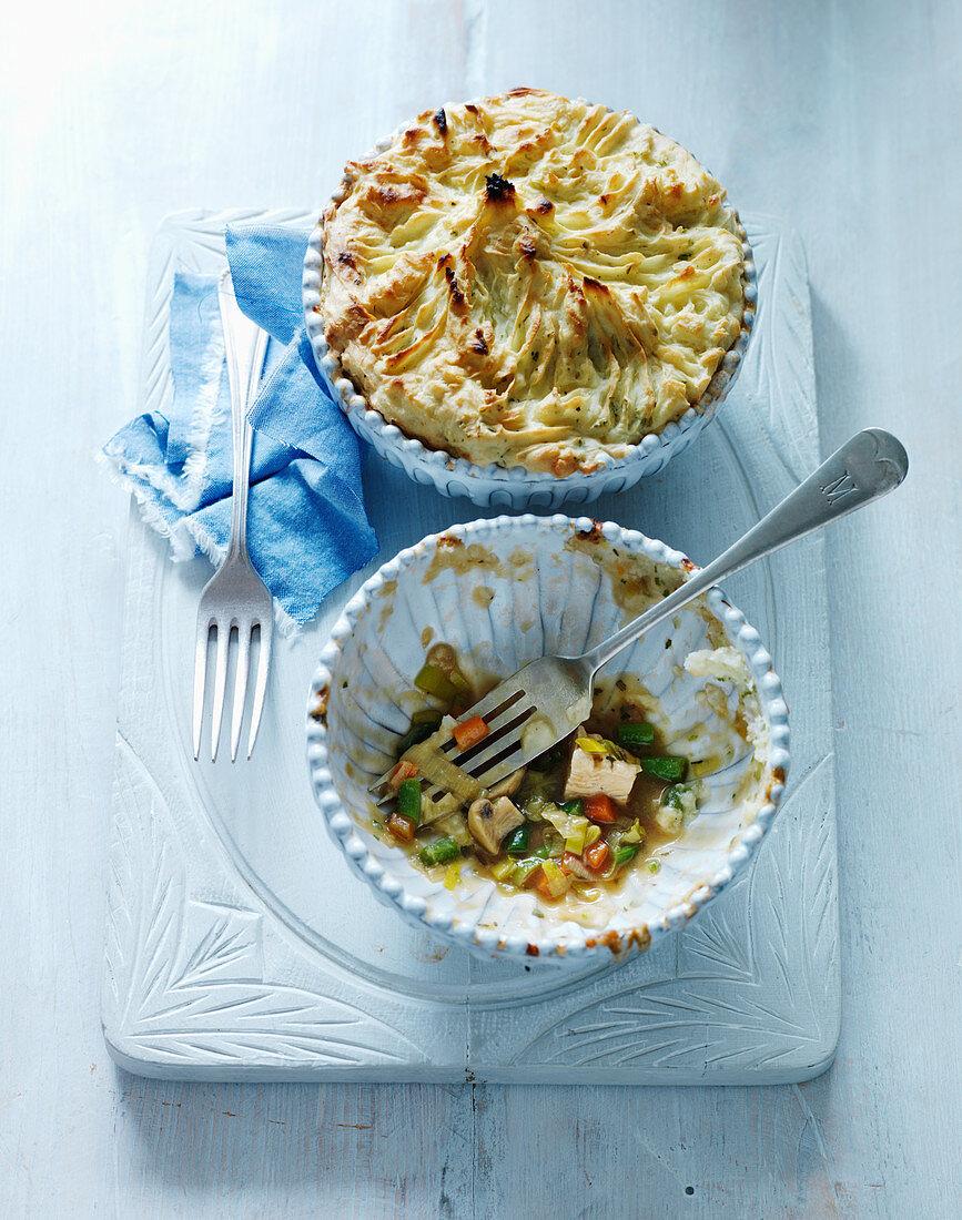 Chicken tarragon pie with peas and mushrooms