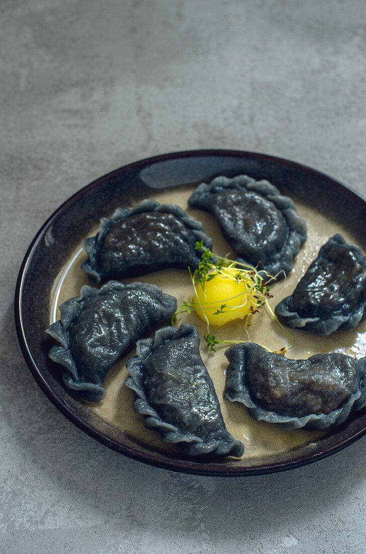 Black vareniki (Ukrainian ravioli)