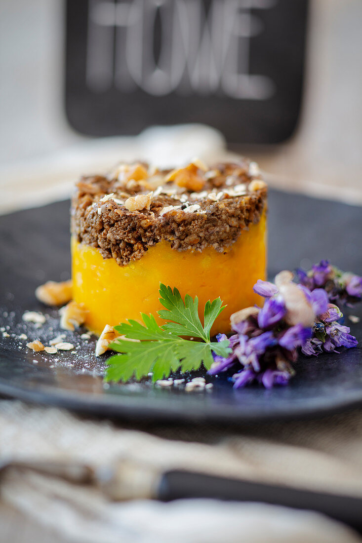 Haggis with mashed pumpkin and turnips as an appetiser (Scotland)