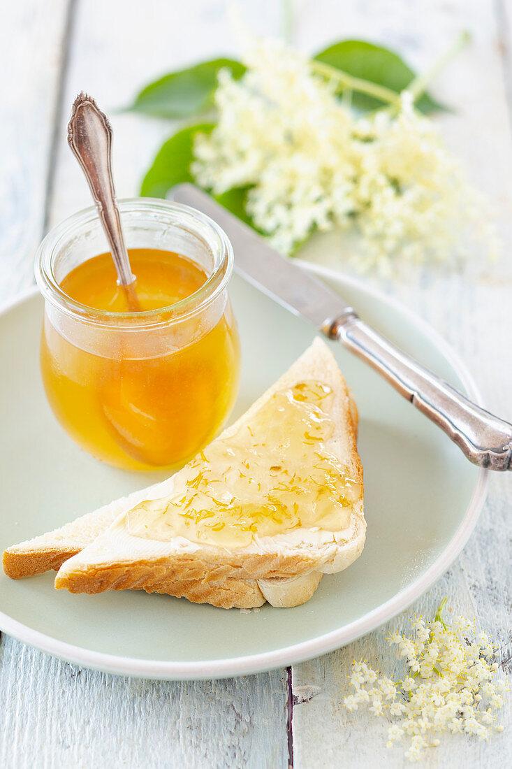 Elderflower jelly on toast for breakfast