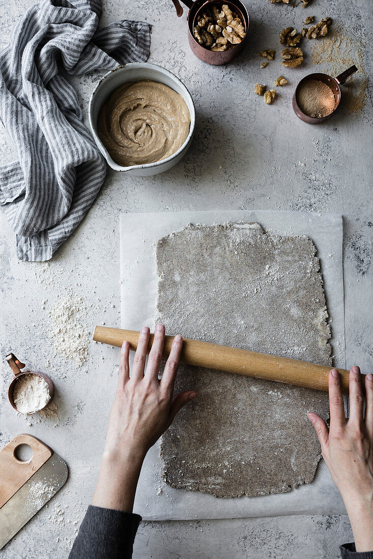 Preparation and cooking of a Maple Buckwheat Apple Galette with Walnut Frangipane: Rolling out an alternative flour pastry