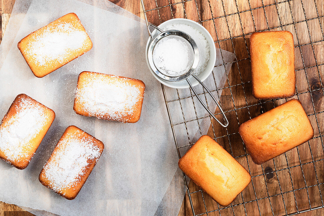 Small orange loaf cakes dusted with icing sugar