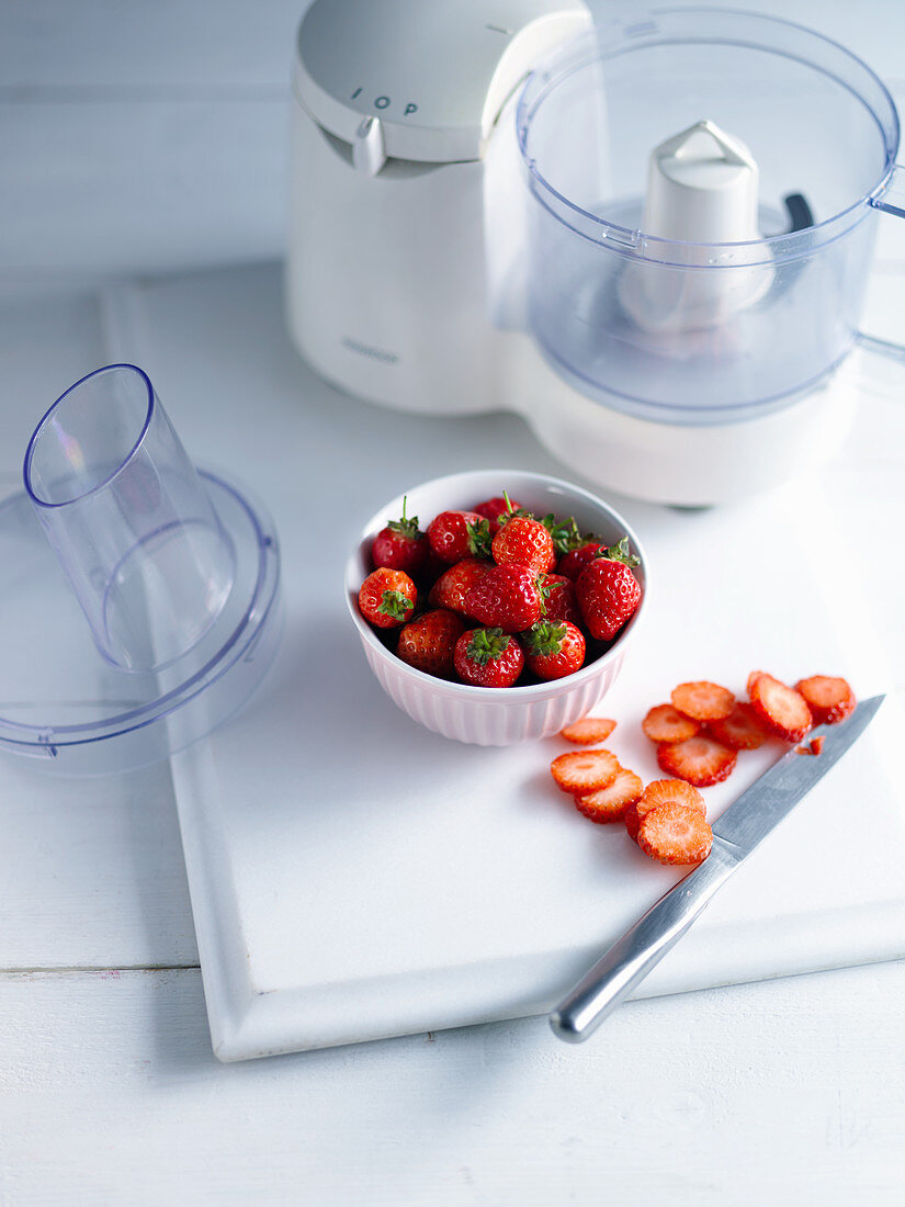 Strawberries and a blender