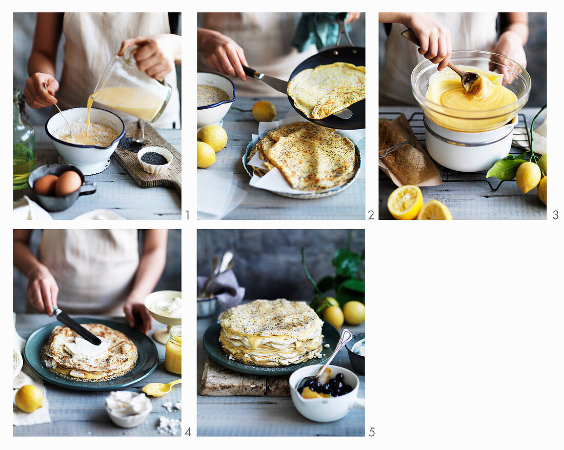 Preparing Lemon Curd and Poppy Seed Crepe Cake
