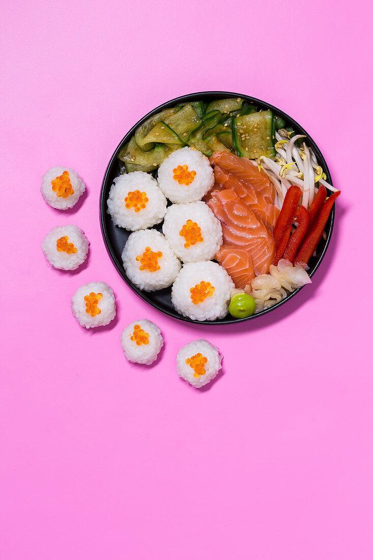 Chirashi sushi with salmon and caviar (Japan)