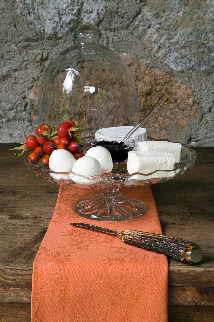 Rose hips on cheeseboard