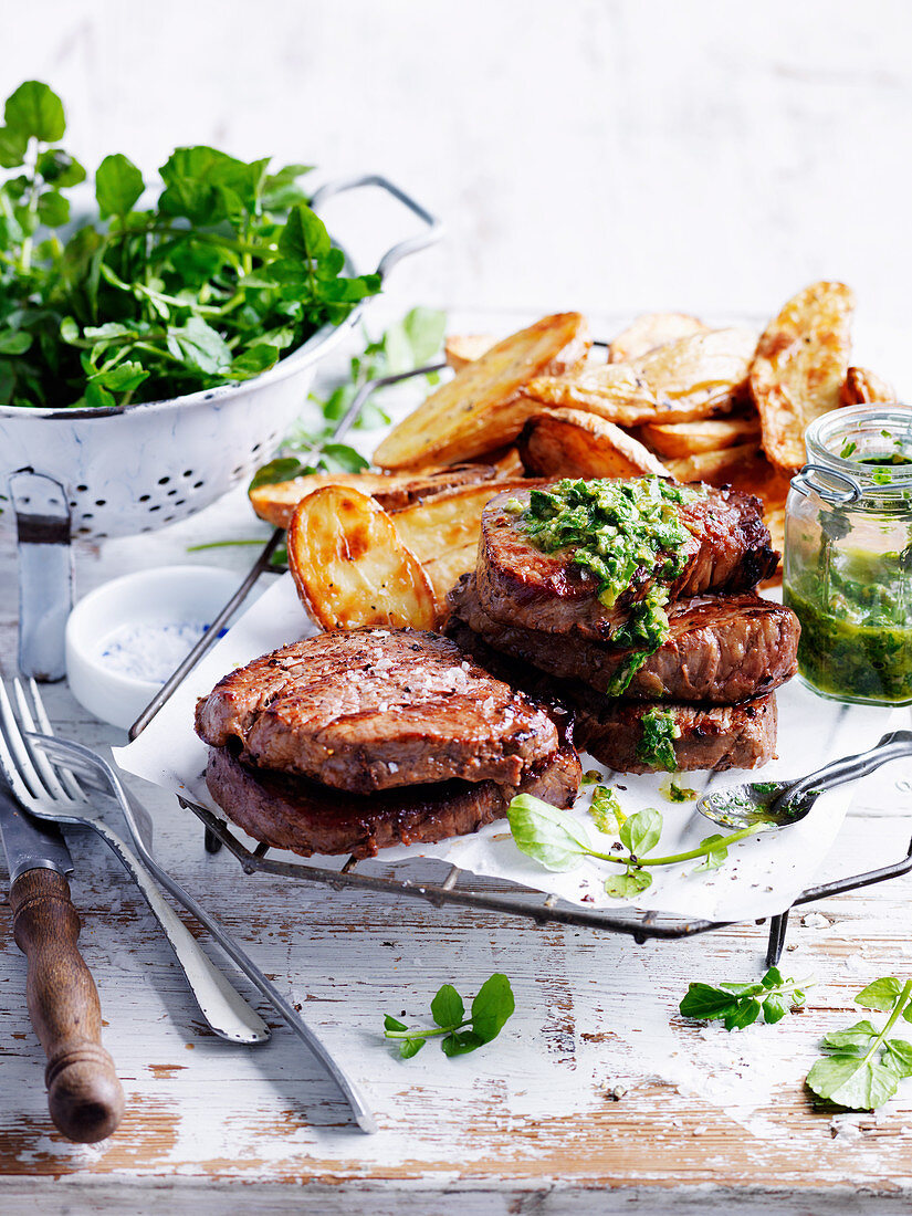 Steak and Spuds with Salsa Verde