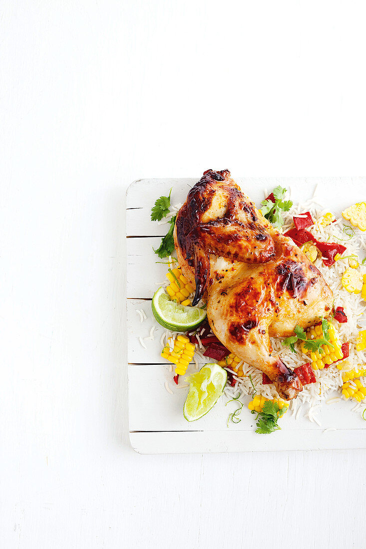 Chilli coriander chicken with corn and lime rice