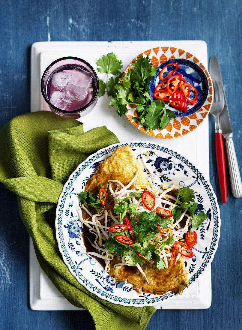 Asian-Style Omelette with Glass Noodles