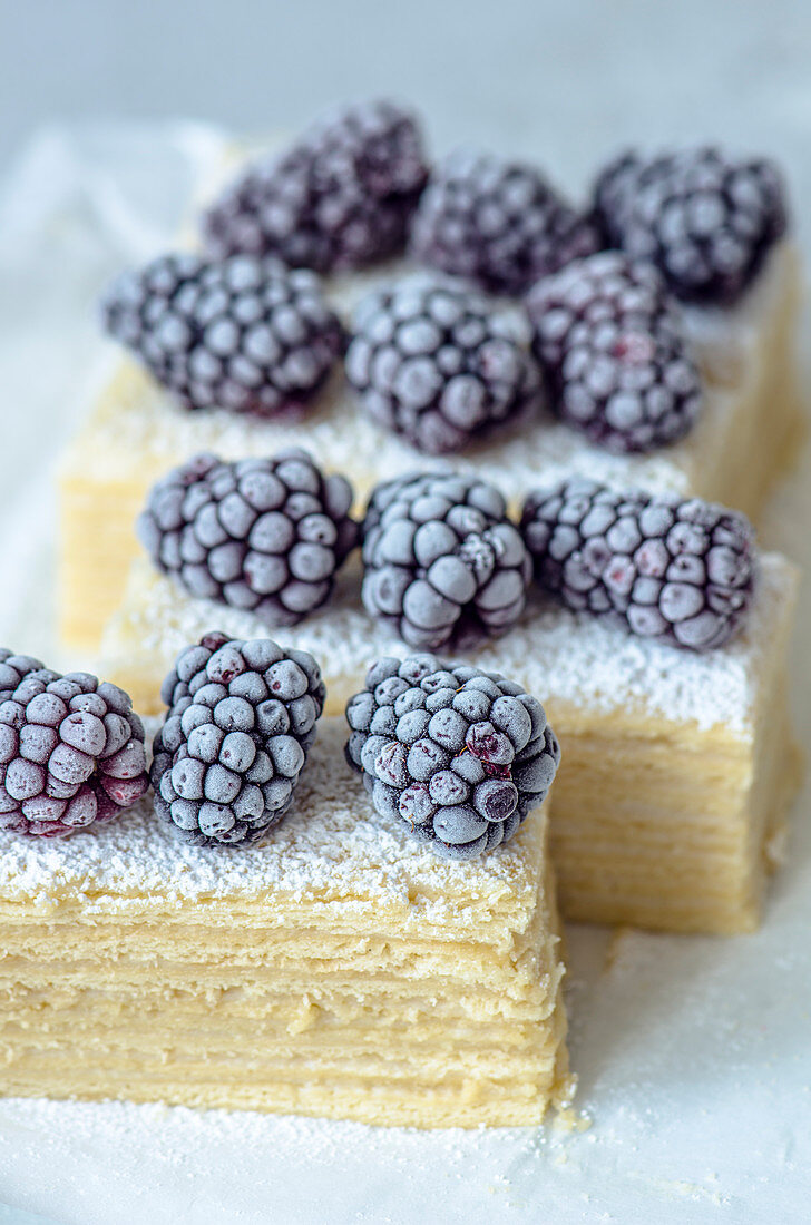 Puff pastry slices with frozen blackberries