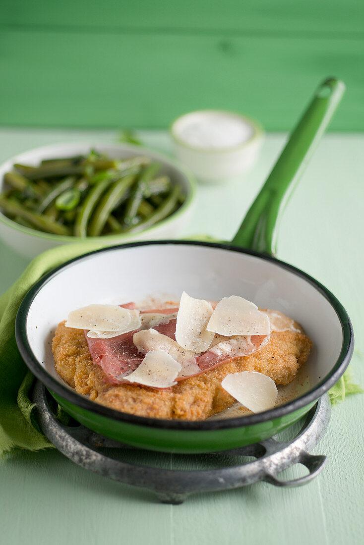 Cotoletta alla bolognese con parmigiano (veal cutlet with parmesan, Italy)