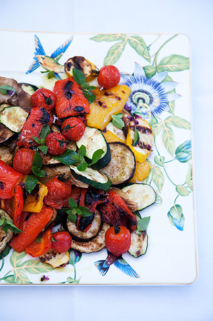 Colourful grilled vegetable antipasti