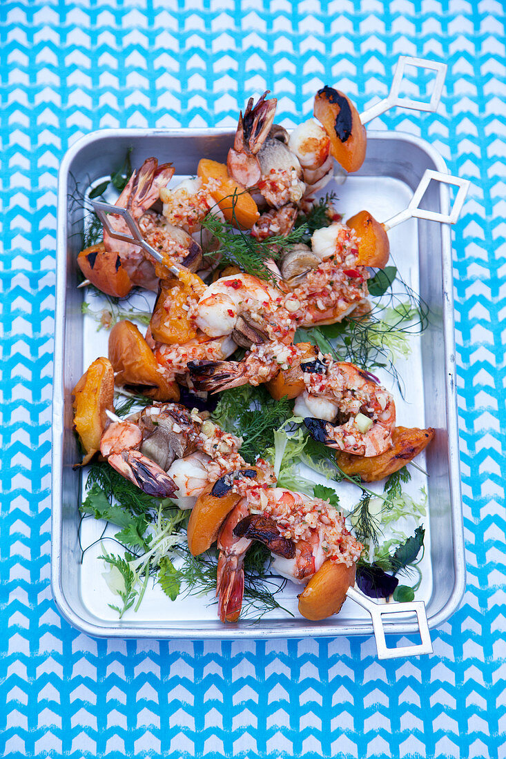 Grilled prawn skewers with apricots and herbs