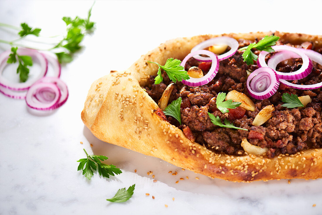 Turkish pide with sesame on marble