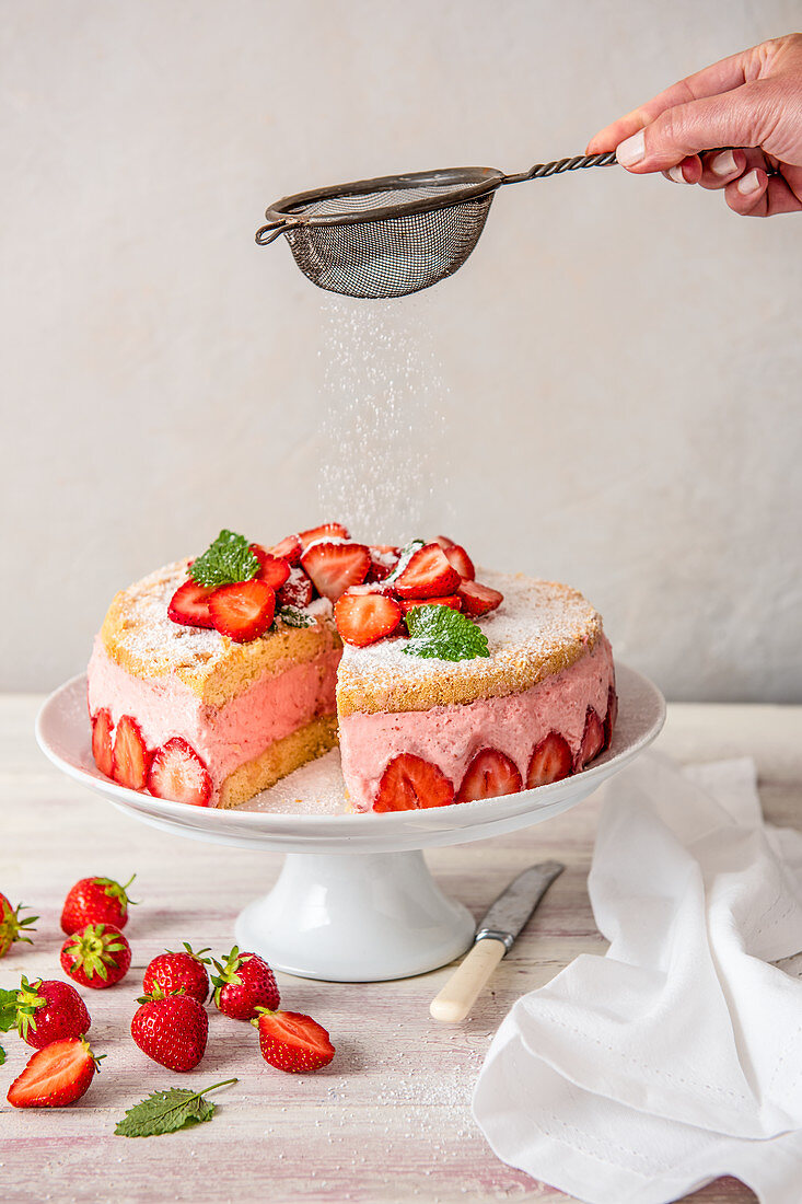 Strawberry mousse cake sliced removed