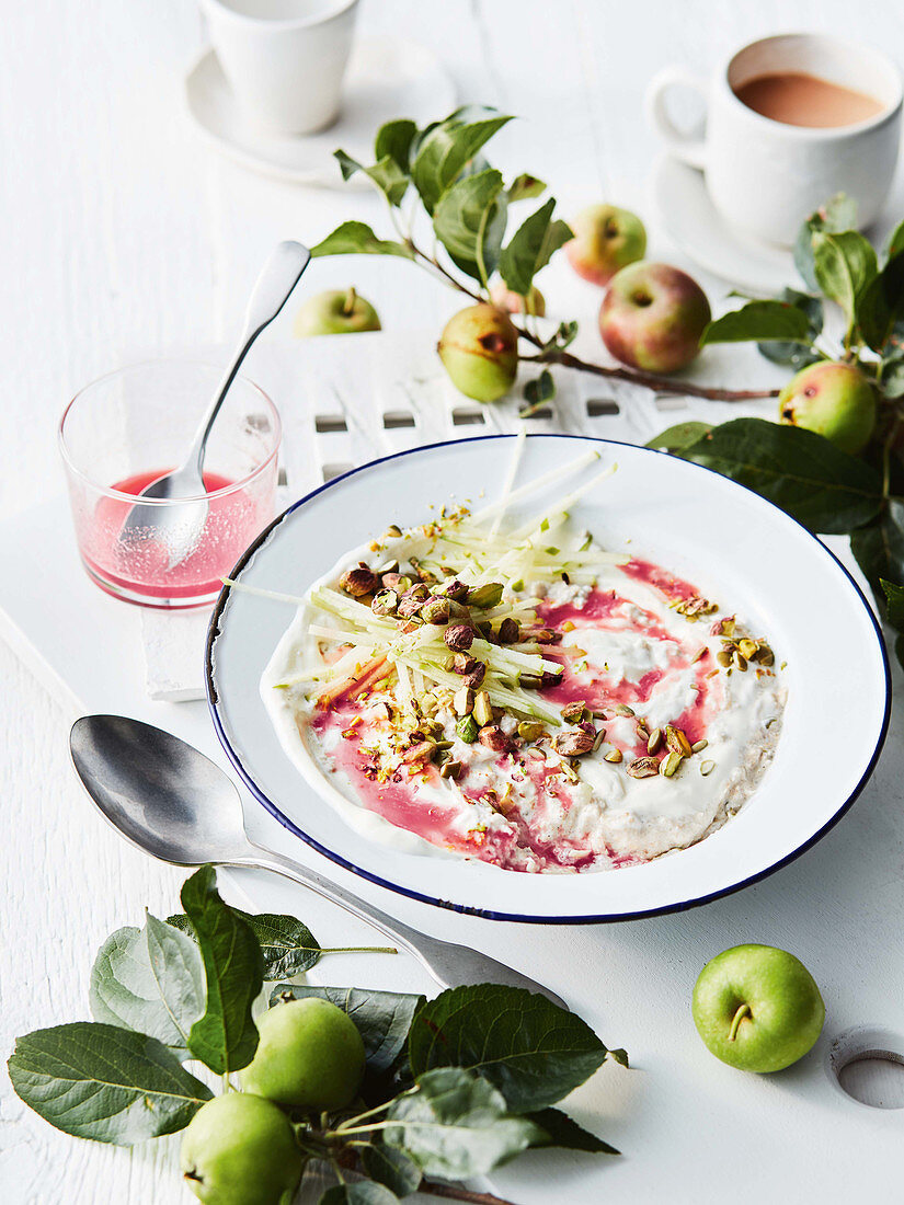 Autumn Bircher with orange and rhubarb syrup