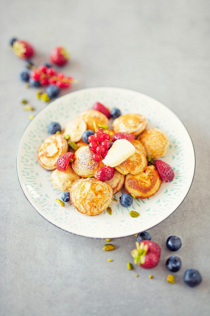 Poffertjes with fresh fruits (Netherlands)