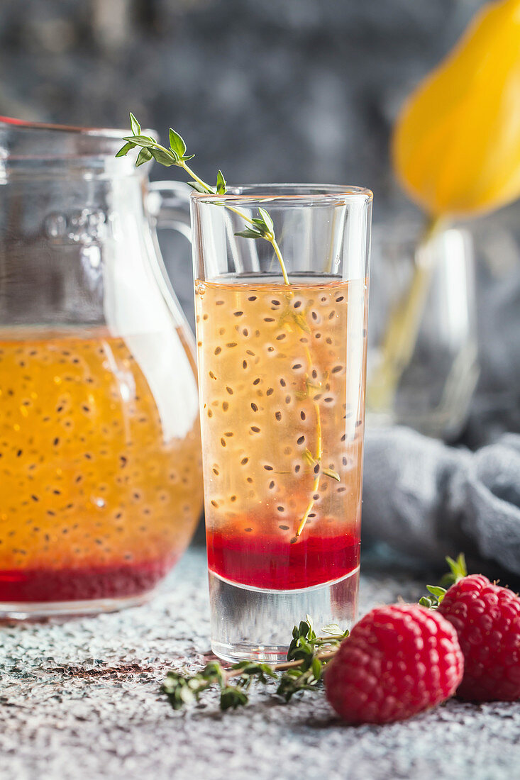 Fresh berry drink with blueberries, raspberries and seeds