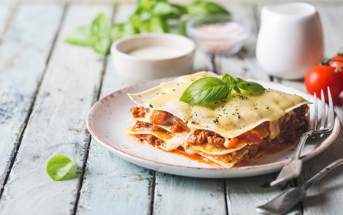 Close-up of a traditional lasagna made with minced beef bolognese