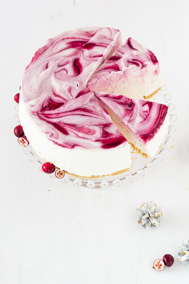 No-bake cranberry cake, sliced