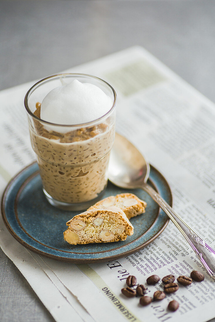 Espresso rice pudding and cantuccini