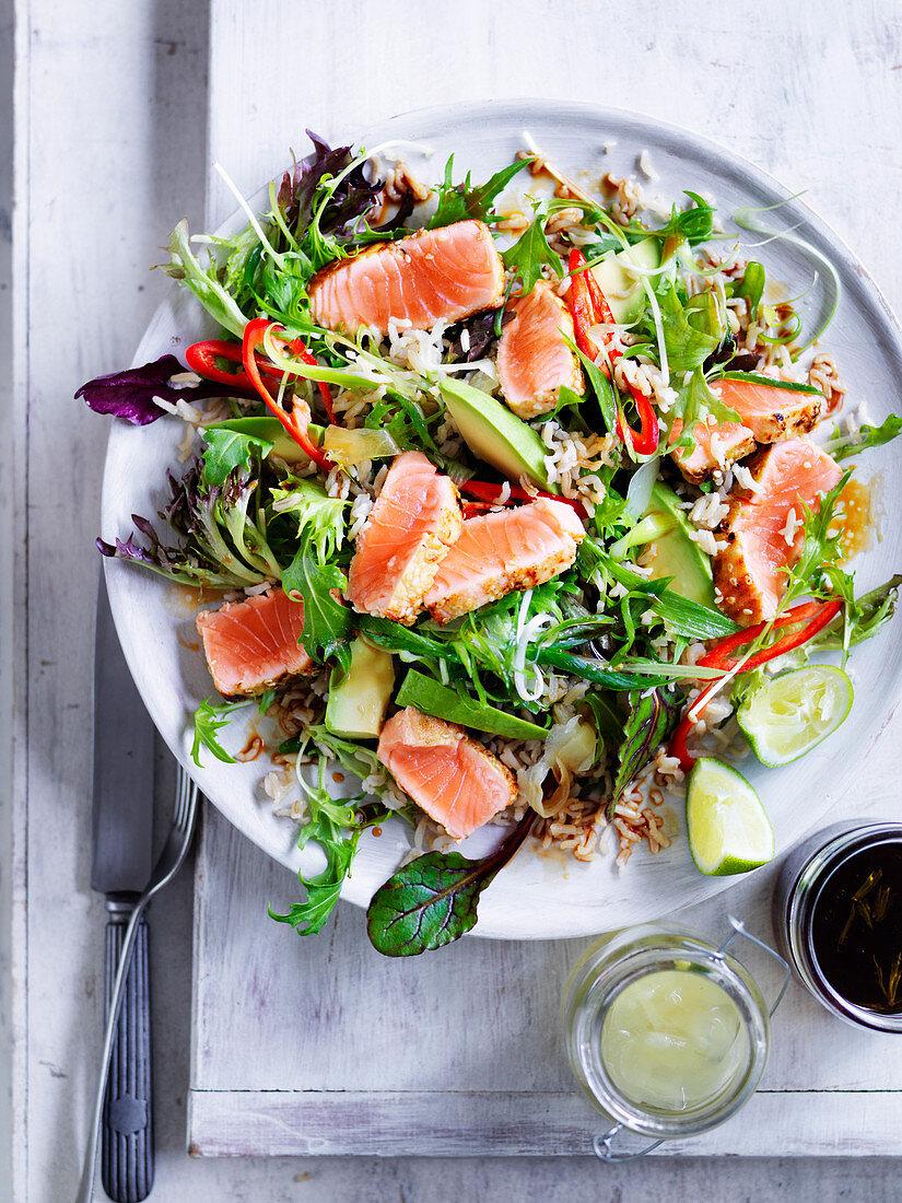 Seared wasabi salmon and brown rice salad