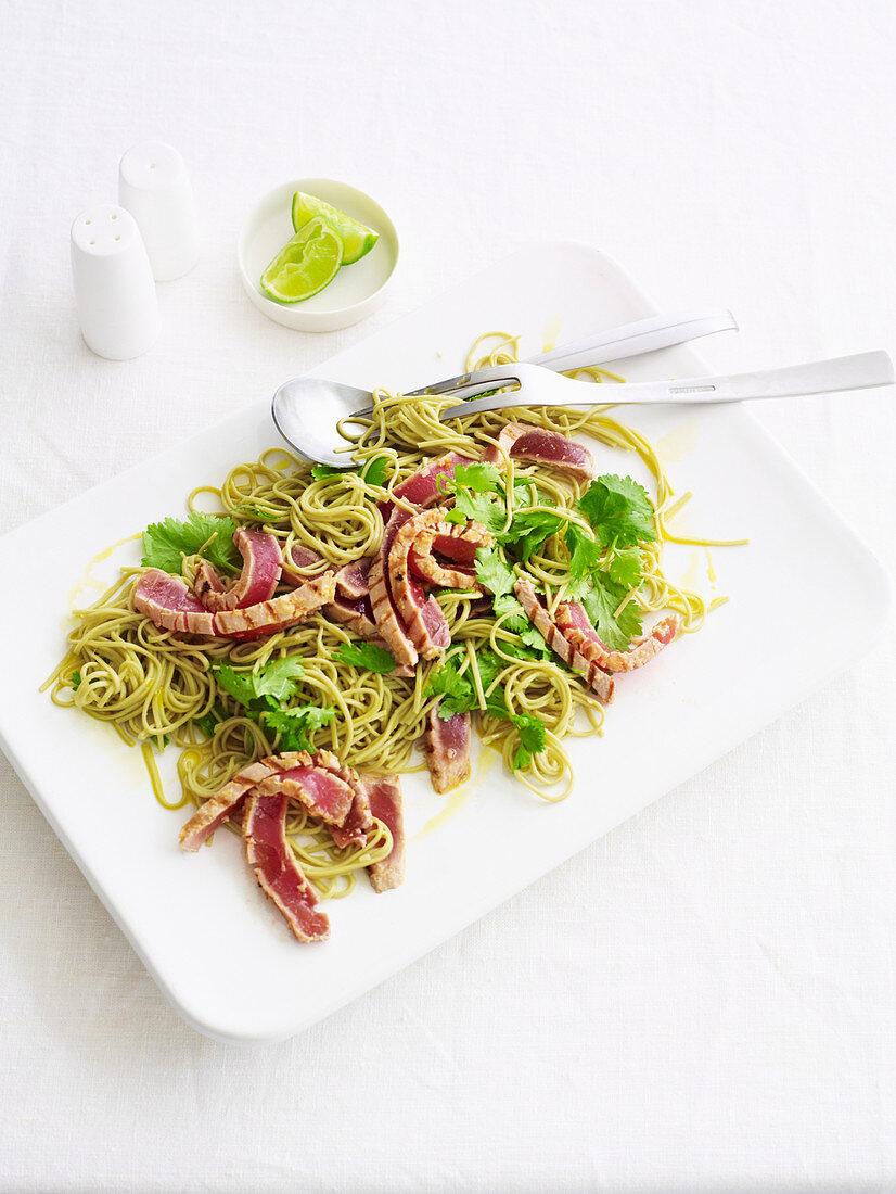 Warm tuna and green tea noodle salad
