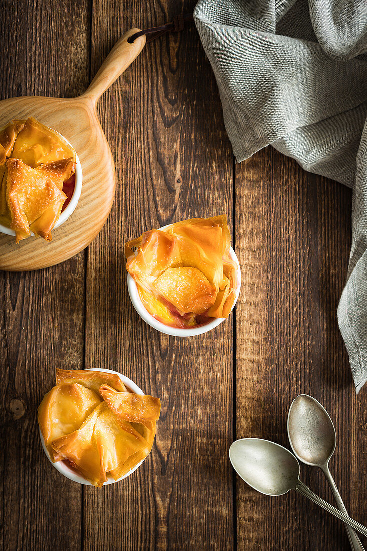 Baked gooseberry with classic vanilla custard and phyllo pastry