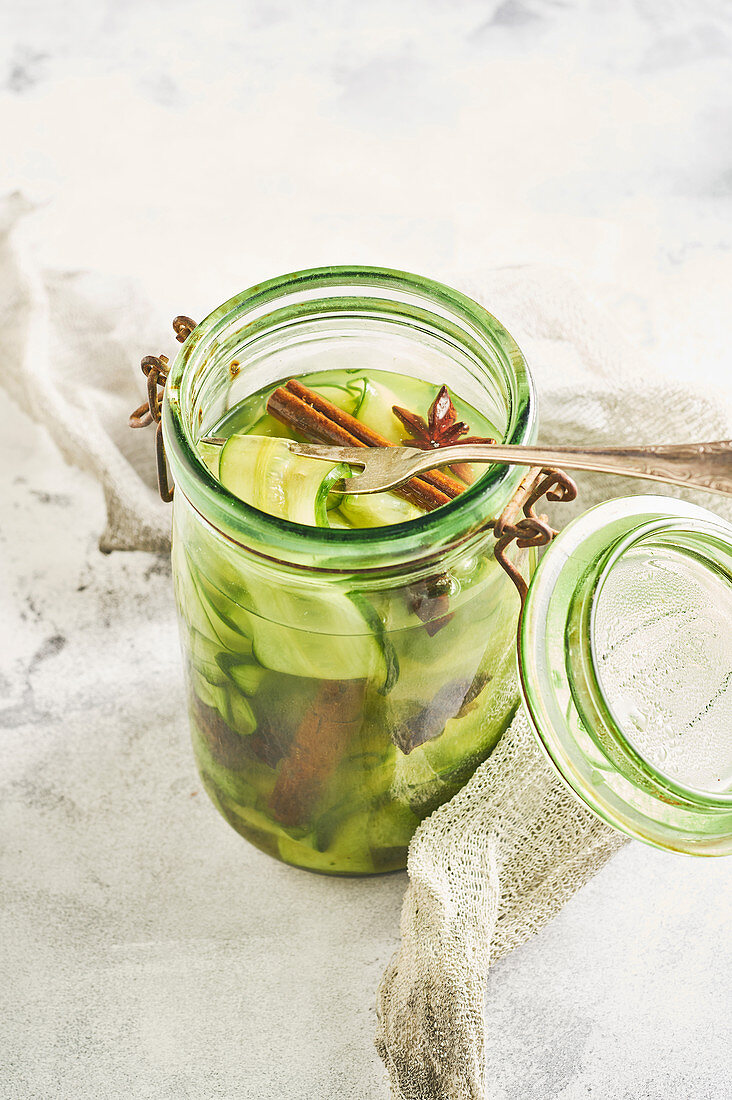 Pickled cucumber with star anise and cinnamon
