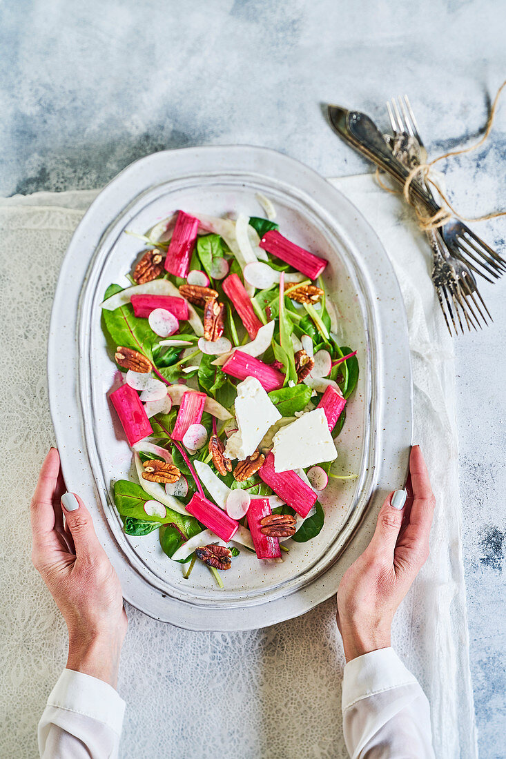 Roasted rhubarb feta salad with pecans, radish, fennel and red chard