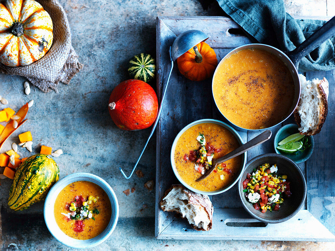 Pumpkin soup with sourdough and Pico De Gallo