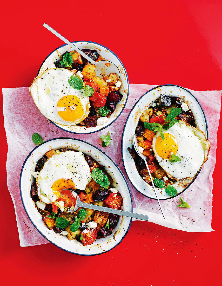 Roast vegetable hash pies with fried eggs