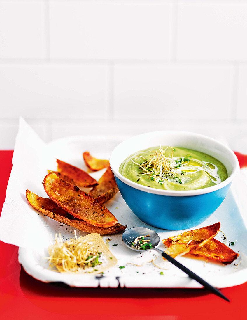 Potato, leek and rocket soup with crispy potato skins