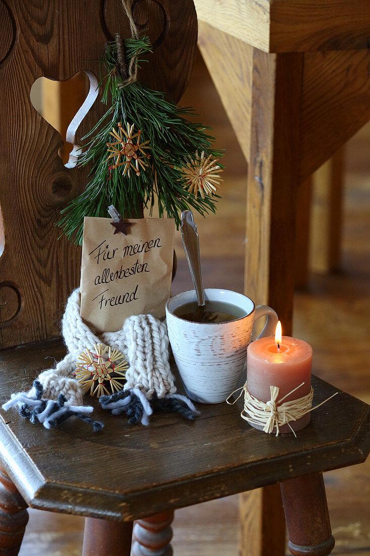 Winter gift of paper bag of tea with handwritten message