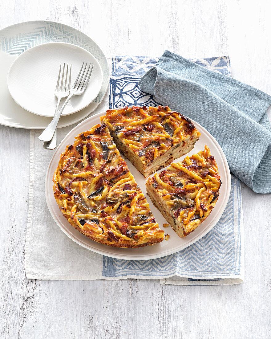 Frittata with pasta, tomato and scamorza