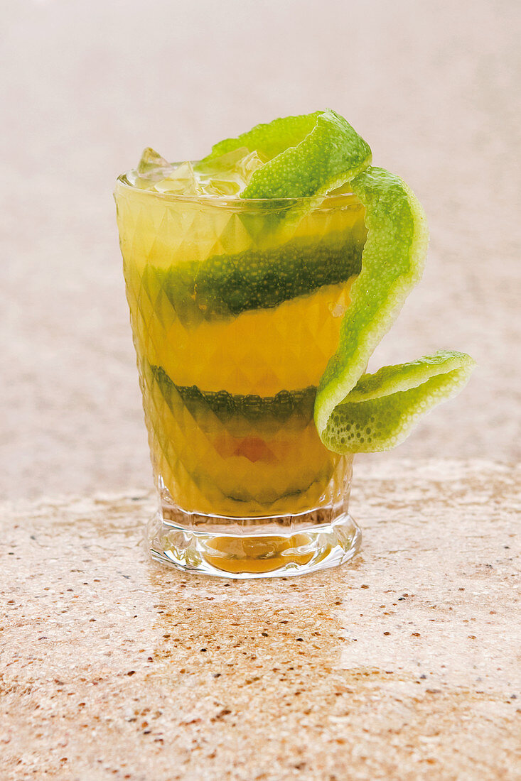 Planter's Punch with rum, coconut liqueur and limes