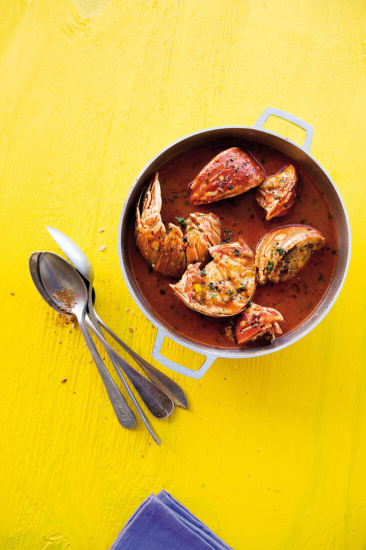 Caribbean langoustine soup with lemongrass, star anise and rum