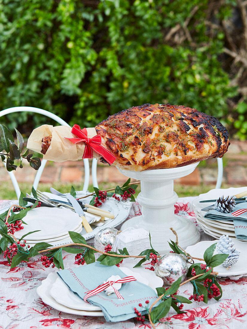 Marmalade and rosemary glazed ham