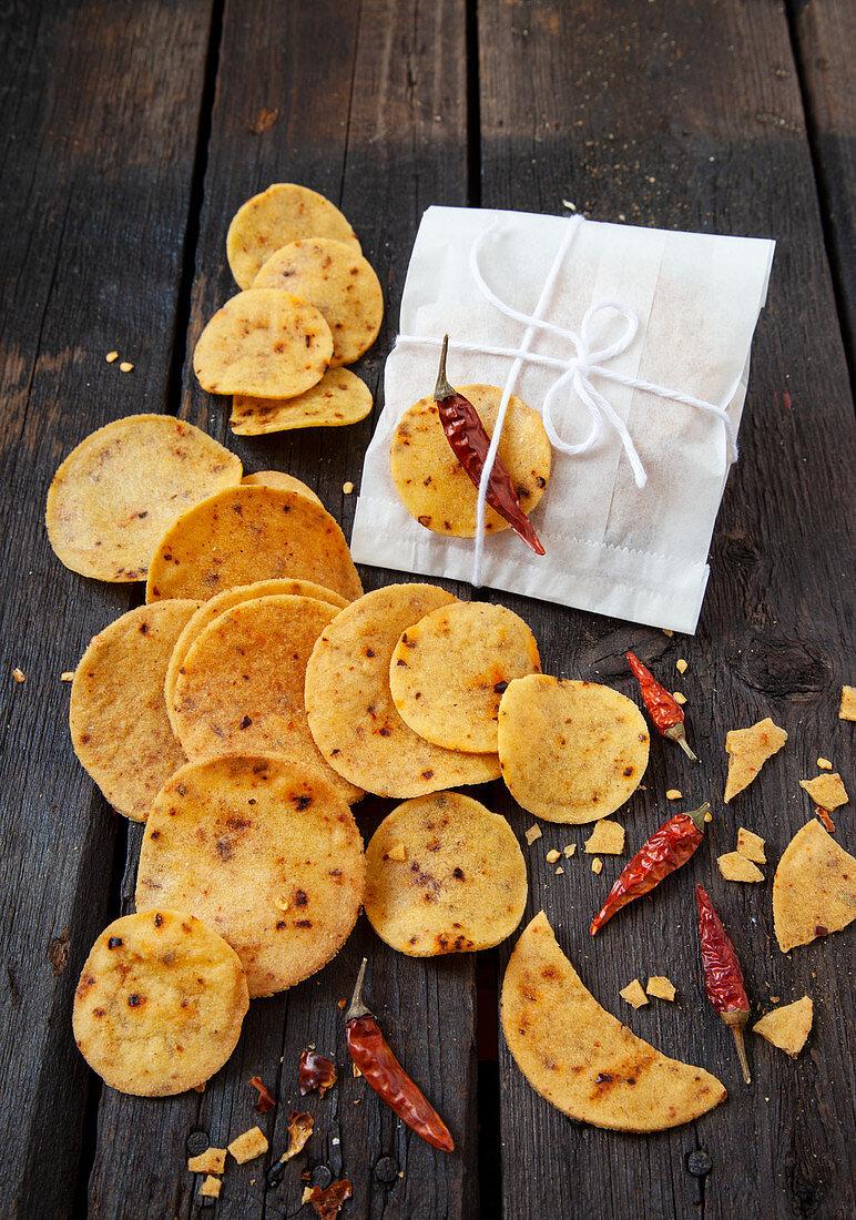 Corn and chili chips