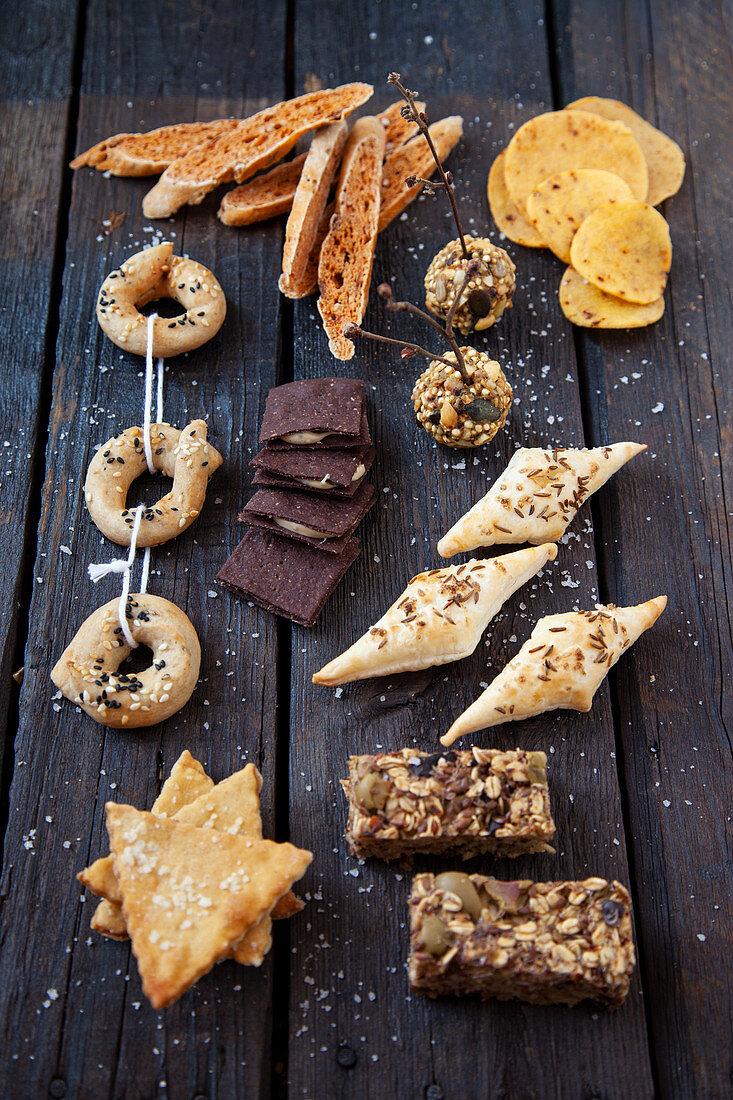 Various, homemade snacks