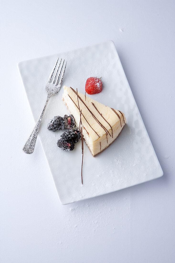 A slice of New York cheesecake
