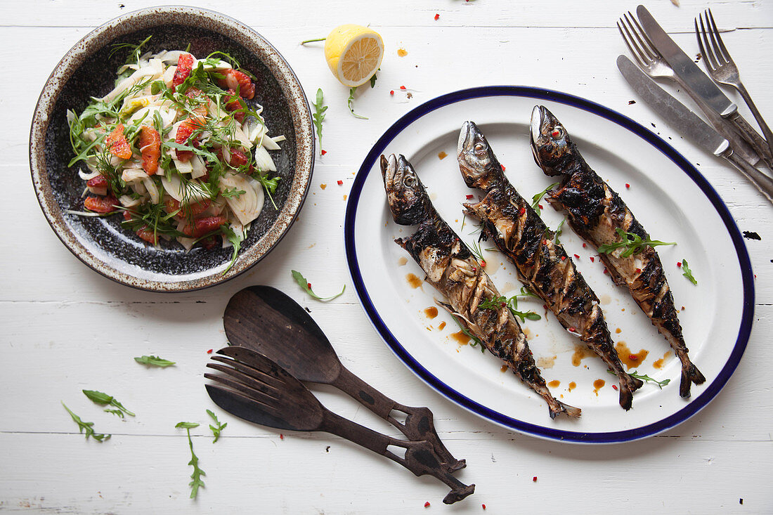BBQ mackerel with fennel salad.