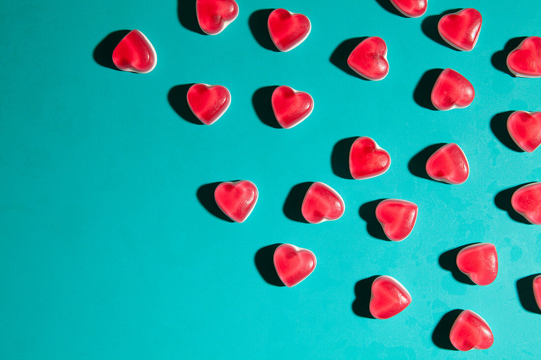 Heart sweets on turquoise background