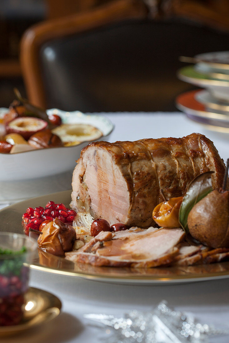 Roast veal with pears, foie gras and Port wine gravy