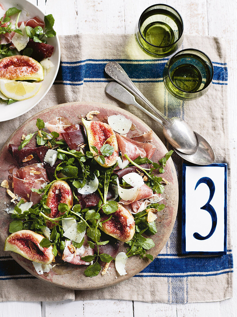 Bresaola, fig and watercress salad (Italy)